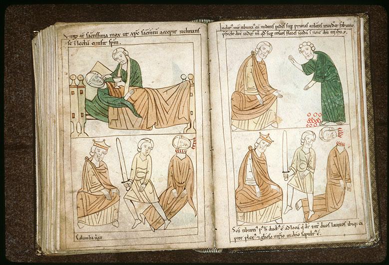 Bible en images - Fabien et saint Tiburce marchant sur des charbons ardents_0