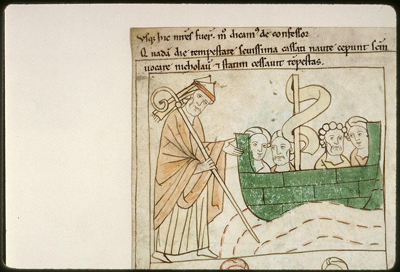 Bible en images - Saint Nicolas sauvant un bateau du naufrage_0