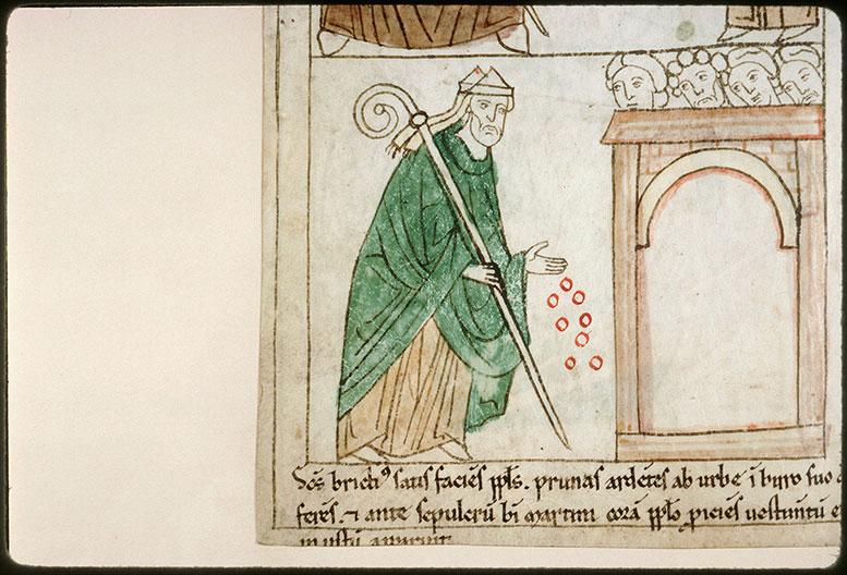 Bible en images - Saint Brice déposant des charbons ardents au tombeau de saint Martin_0