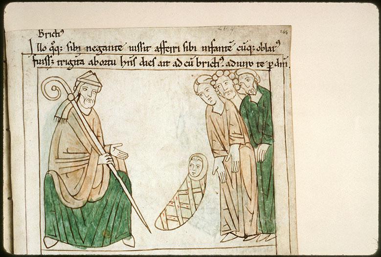 Bible en images - Saint Brice interrogeant l'enfant dont on l'accuse d'être le père_0