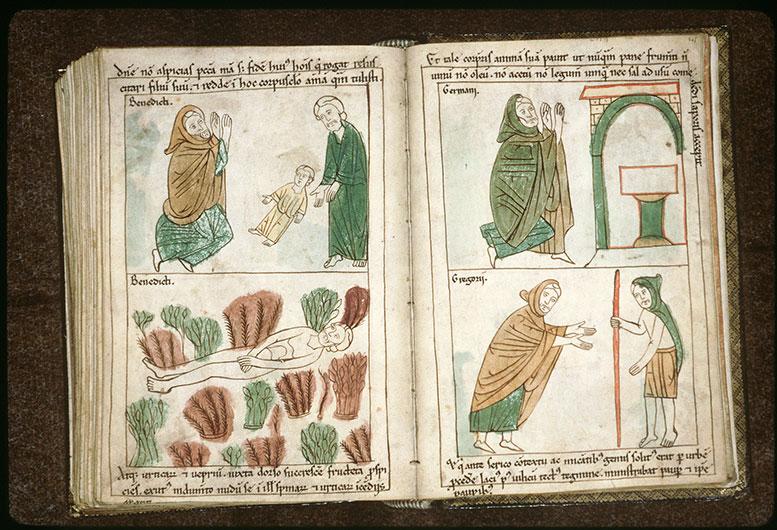 Bible en images - Saint Benoît ressuscitant un enfant sous les yeux du père_0