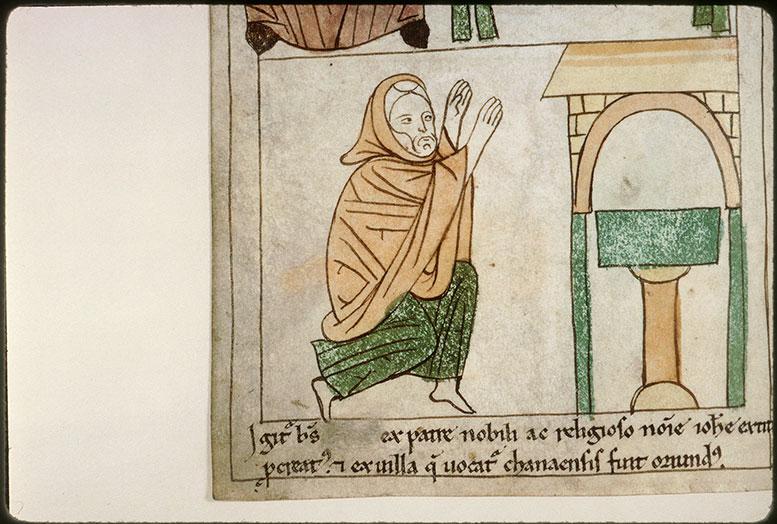 Bible en images - Saint Dominique de Silos en prière devant un autel_0