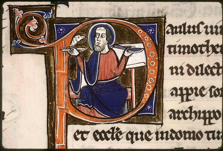 Bible (partie de) - Saint Paul écrivant, inspiré par le Saint-Esprit_0