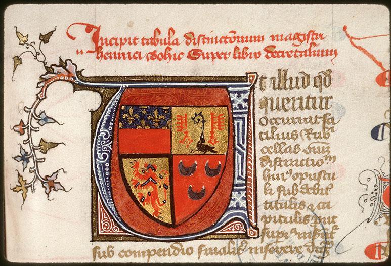 Distinctiones in Decretales Gregorii IX - Armes d'Etienne de Conty_0
