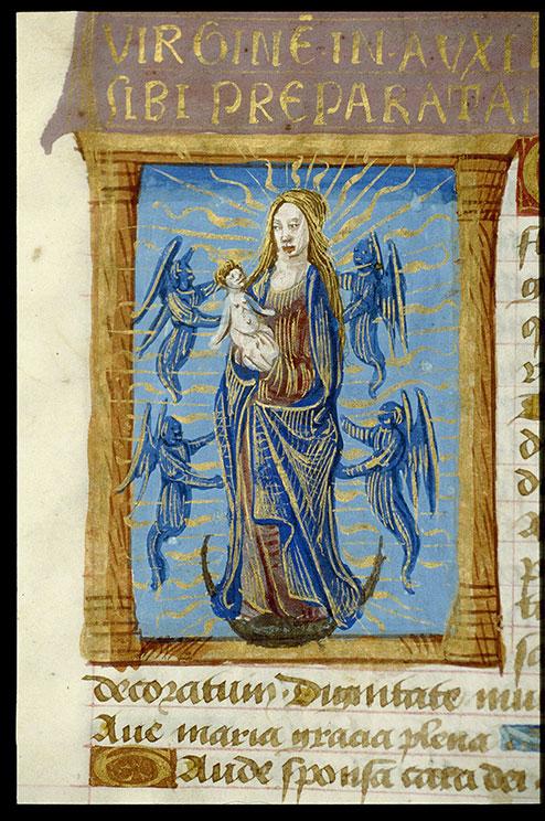 Heures à l'usage de Cluny - Vierge à l'Enfant et anges_0