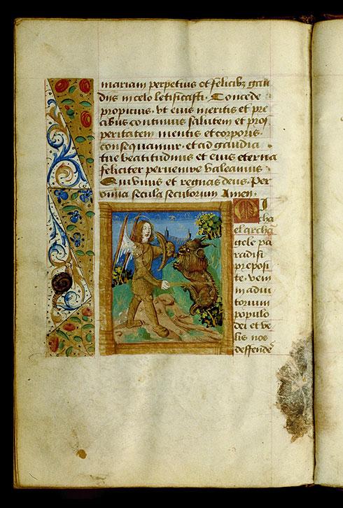 Heures à l'usage de Cluny - Saint Michel combattant le diable_0