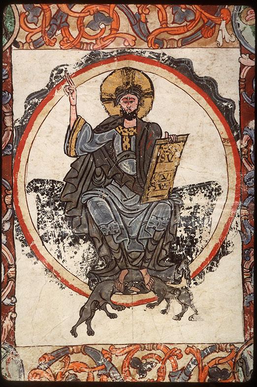 Psautier à l'usage d'Angers - Christ en majesté entouré du Tétramorphe_0