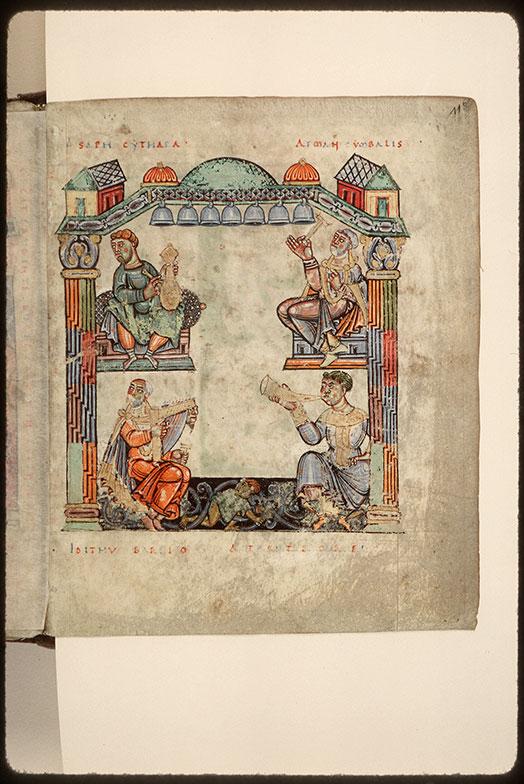 Psautier à l'usage d'Angers - David jouant du psaltérion et musiciens_0