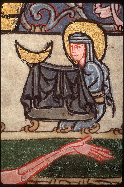 Psautier à l'usage d'Angers - Christ en croix entre Marie et Jean_0