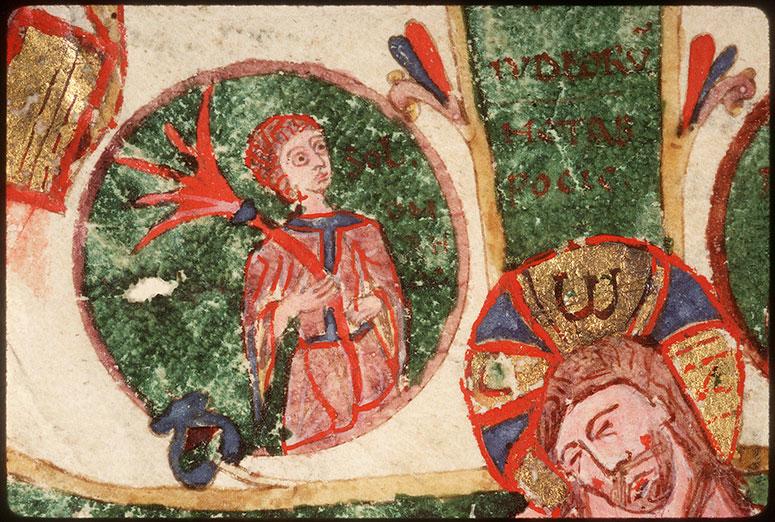 Evangiles - Christ en croix entre Marie et Jean, symboles de Luc, Jean et Matthieu_0