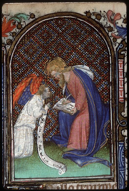 Heures à l'usage de Troyes - Saint Matthieu écrivant et son symbole_0