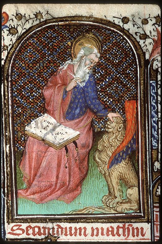 Heures à l'usage de Troyes - Saint Marc écrivant et son symbole_0