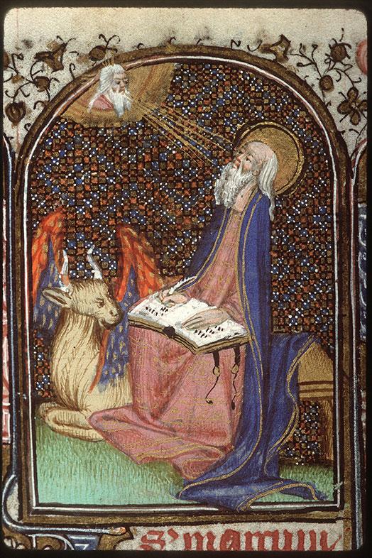 Heures à l'usage de Troyes - Saint Luc écrivant et son symbole_0