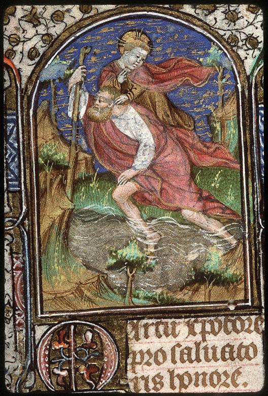 Heures à l'usage de Troyes - Saint Christophe portant l'Enfant Jésus_0