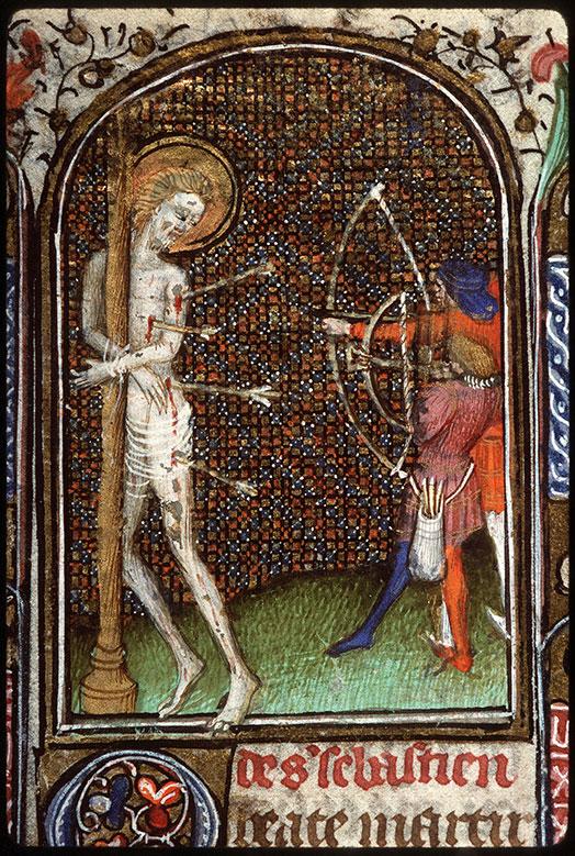 Heures à l'usage de Troyes - Martyre de saint Sébastien_0