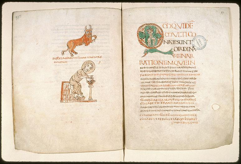 Evangiles - Saint Luc écrivant et son symbole_0