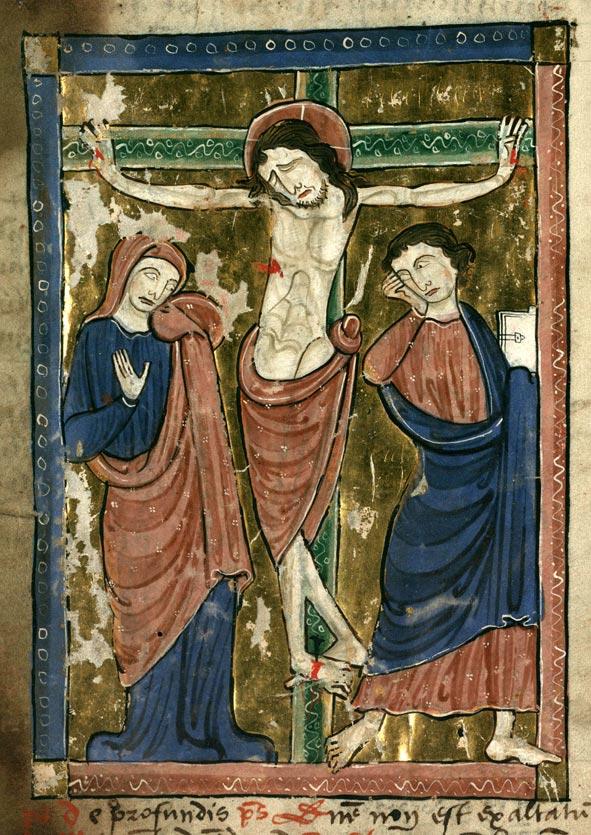 Psautier à l'usage de la collégiale Saint-Pierre de Lille - Christ en croix entre Marie et Jean_0