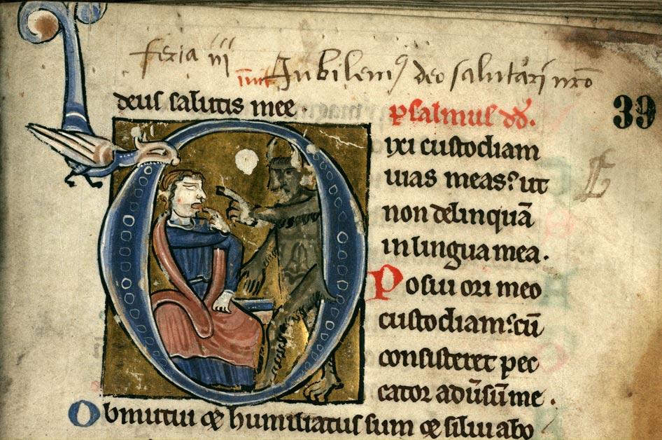Psautier à l'usage de la collégiale Saint-Pierre de Lille - David et le diable_0
