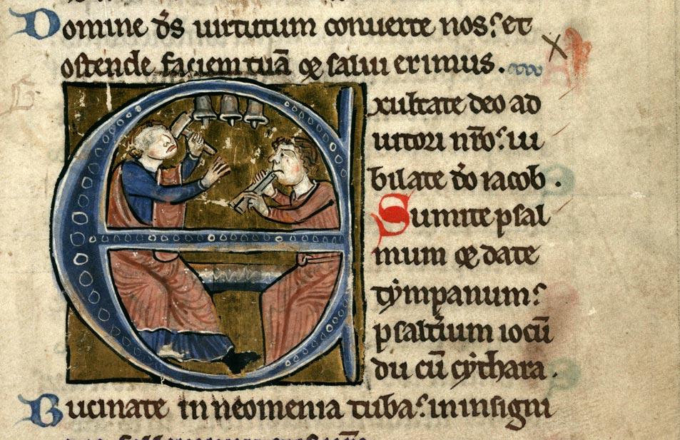 Psautier à l'usage de la collégiale Saint-Pierre de Lille - David jouant des clochettes et musicien_0
