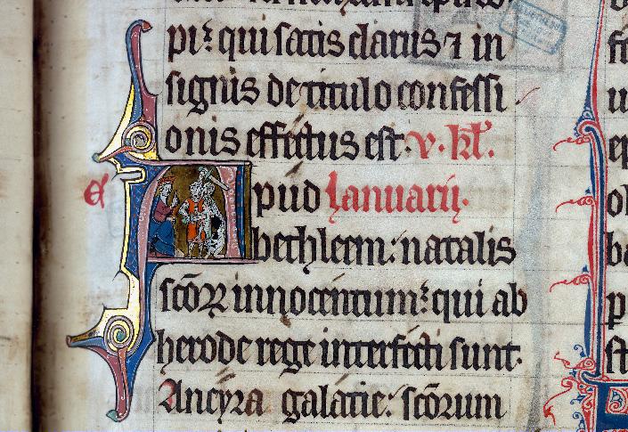 Martyrologe-obituaire de l'abbaye Notre-Dame des Prés de Douai - Hérode ordonnant le massacre des Innocents_0