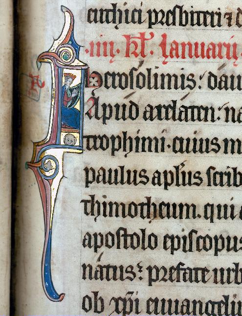 Martyrologe-obituaire de l'abbaye Notre-Dame des Prés de Douai - David jouant de la harpe_0