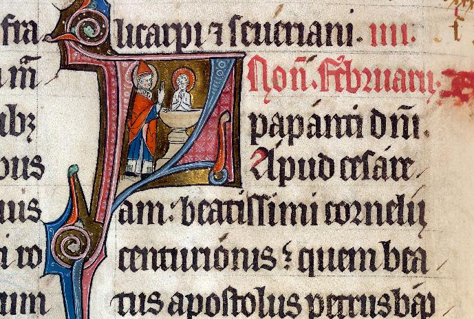 Martyrologe-obituaire de l'abbaye Notre-Dame des Prés de Douai - Saint Pierre baptisant saint Corneille de Césarée_0