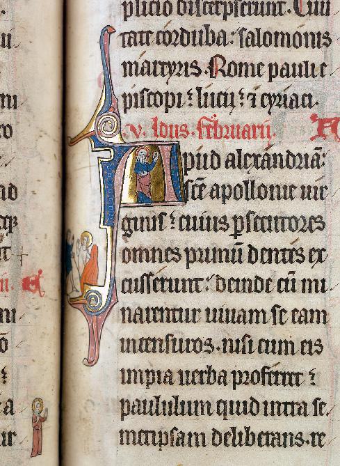 Martyrologe-obituaire de l'abbaye Notre-Dame des Prés de Douai - Sainte Apollonie/Sainte Apollonie se jetant dans les flammes_0