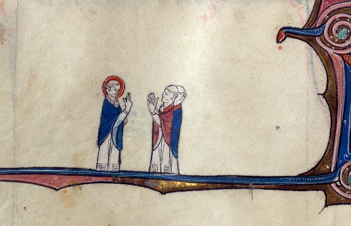 Martyrologe-obituaire de l'abbaye Notre-Dame des Prés de Douai - Saint Abile bénissant des prêtres_0