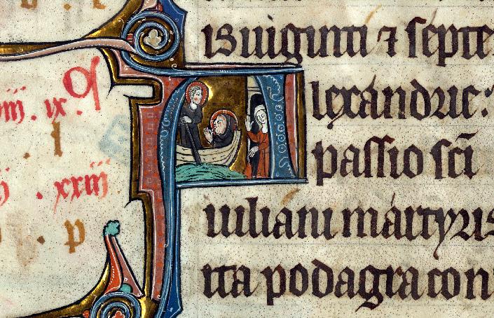 Martyrologe-obituaire de l'abbaye Notre-Dame des Prés de Douai - Saint Julien faisant passer dans sa barque le Christ lépreux_0