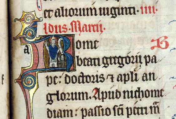 Martyrologe-obituaire de l'abbaye Notre-Dame des Prés de Douai - Saint Grégoire et une bénédictine/Saint Grégoire écrivant_0