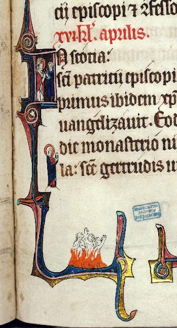 Martyrologe-obituaire de l'abbaye Notre-Dame des Prés de Douai - Saint Patrick s'adressant à un homme et Purgatoire_0