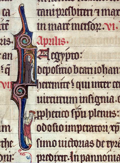 Martyrologe-obituaire de l'abbaye Notre-Dame des Prés de Douai - Saint Jean de Lycopolis prédisant les victoires de Théodose Ier_0