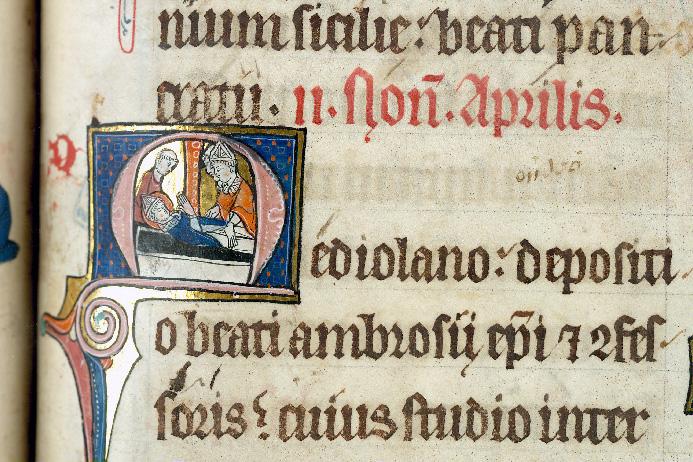 Martyrologe-obituaire de l'abbaye Notre-Dame des Prés de Douai - Enterrement de saint Ambroise_0