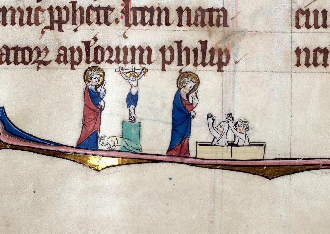 Martyrologe-obituaire de l'abbaye Notre-Dame des Prés de Douai - Crucifiement de saint Philippe/Saint Philippe (à préciser)_0