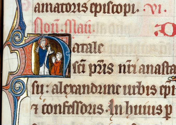 Martyrologe-obituaire de l'abbaye Notre-Dame des Prés de Douai - Saint Athanase bénissant un homme en prière_0