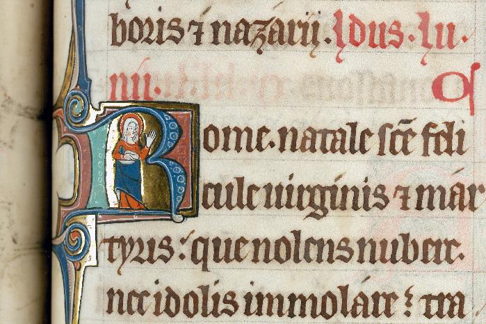 Martyrologe-obituaire de l'abbaye Notre-Dame des Prés de Douai - Sainte Félicule/Martyre de sainte Félicule_0