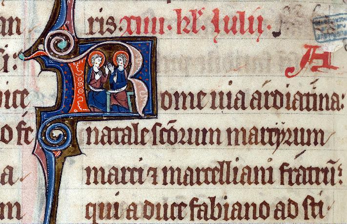 Martyrologe-obituaire de l'abbaye Notre-Dame des Prés de Douai - Saint Marc martyr et saint Marcellien_0