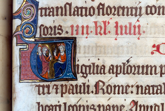 Martyrologe-obituaire de l'abbaye Notre-Dame des Prés de Douai - Saint Pierre et saint Paul devant Néron_0