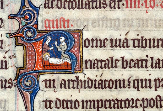 Martyrologe-obituaire de l'abbaye Notre-Dame des Prés de Douai - Martyre de saint Laurent_0