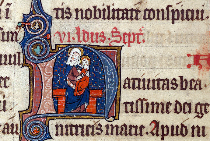Martyrologe-obituaire de l'abbaye Notre-Dame des Prés de Douai - Sainte Anne et la Vierge_0