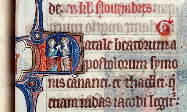 Martyrologe-obituaire de l'abbaye Notre-Dame des Prés de Douai - Saint Simon et saint Jude_0