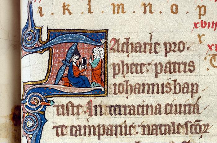 Martyrologe-obituaire de l'abbaye Notre-Dame des Prés de Douai - Saint Zacharie à qui l'on demande d'écrire le nom de son fils_0