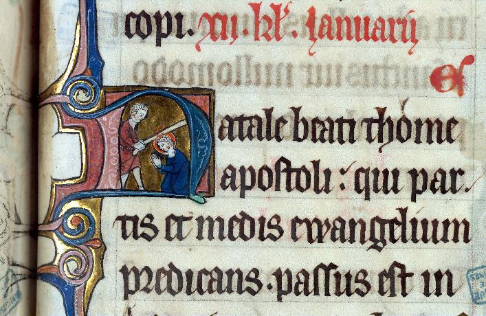 Martyrologe-obituaire de l'abbaye Notre-Dame des Prés de Douai - Martyre de saint Thomas_0