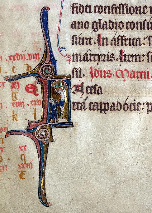 Martyrologe-obituaire de l'abbaye Notre-Dame des Prés de Douai - Coup de lance (Le) : guérison de Longin_0