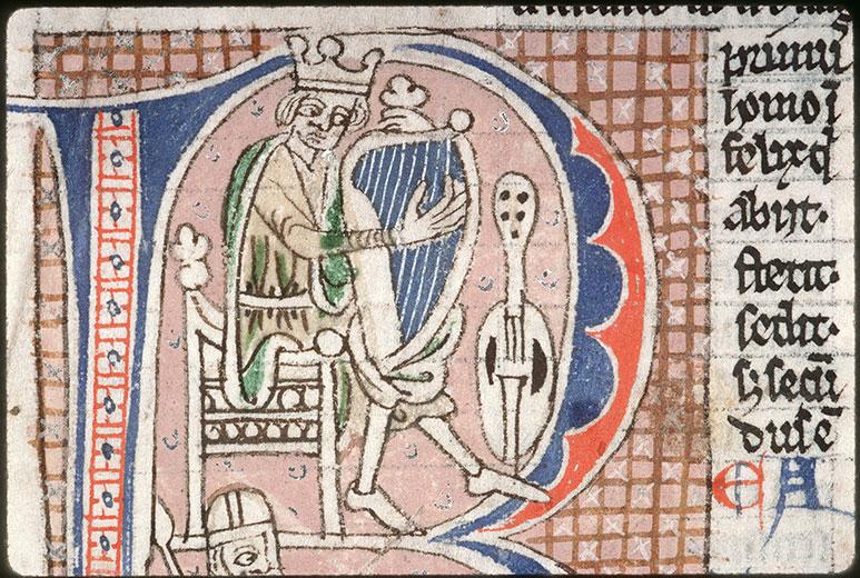 Comment. in Psalmos - David accordant sa harpe/David et Goliath_0