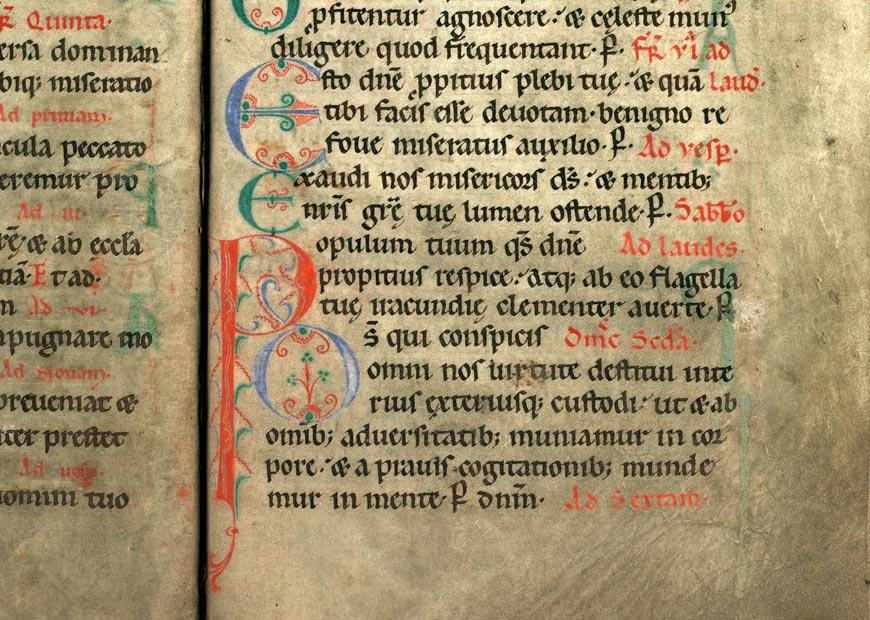 Collectaire à l'usage de l'abbaye Sainte-Rictrude de Marchiennes - Initiales de couleur ornées_0