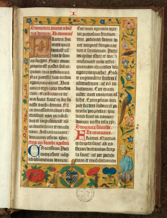 Epistolier à l'usage de l'abbaye d'Anchin - Page décorée, avec armes de Charles Coguin_0