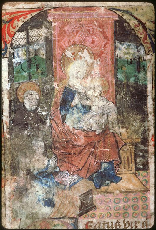 Psalterium beatae Mariae virginis - Donatrice présentée à la Vierge à l'Enfant par saint François_0
