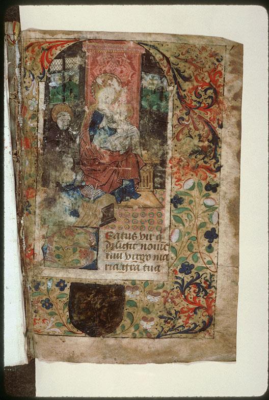 Psalterium beatae Mariae virginis - Page décorée, avec armes (à identifier)_0