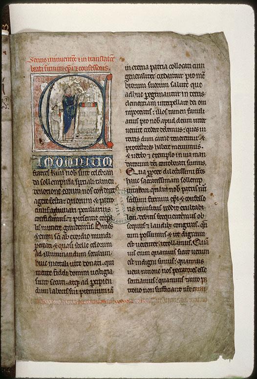 Lectionnaire de l'office (fragment ?) - Main divine bénissant saint Firmin confesseur au moment de l'élévation_0
